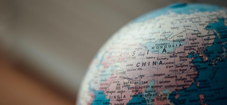 globe terrestre centré sur la chine